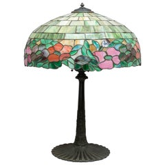 American Leaded Glass Floral Lamp by Wilkinson