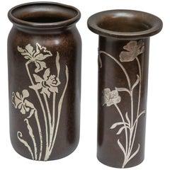 Pair of Heintz Arts & Crafts Silver on Bronze Vases