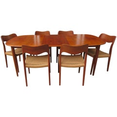 Neils Moeller Chairs Paired with MM Moreddi Teak Dining Table