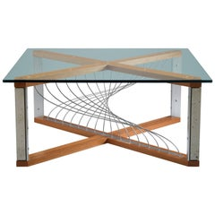 Argon, Handmade Modern Industrial Coffee Table with Metal and Mahogany Wood