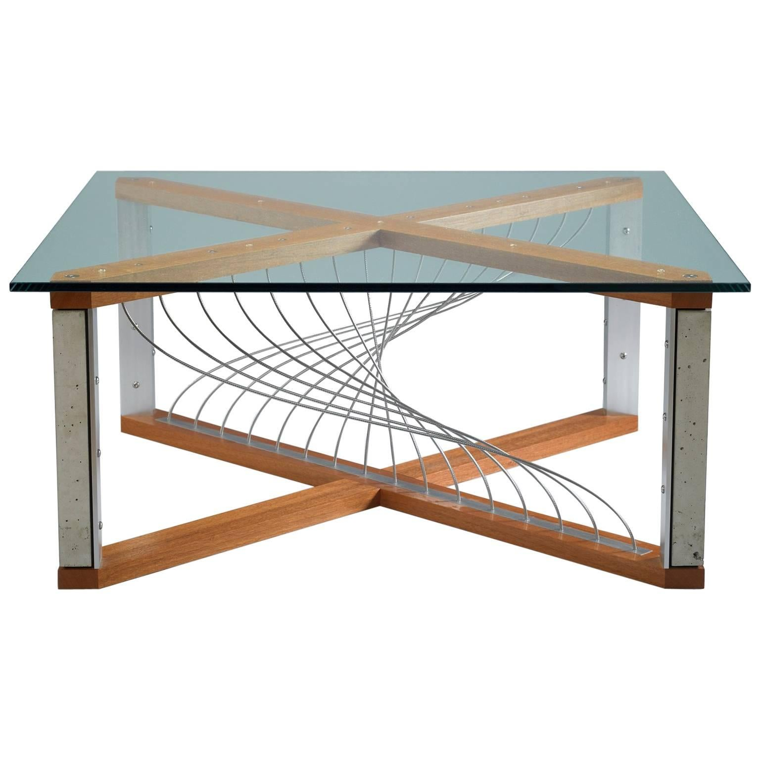 Argon, Handmade Modern Industrial Coffee Table With Metal And Mahogany Wood  For Sale
