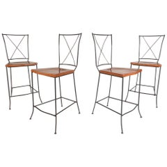 Set of Four Mid-Century Iron and Wood Bar Stools