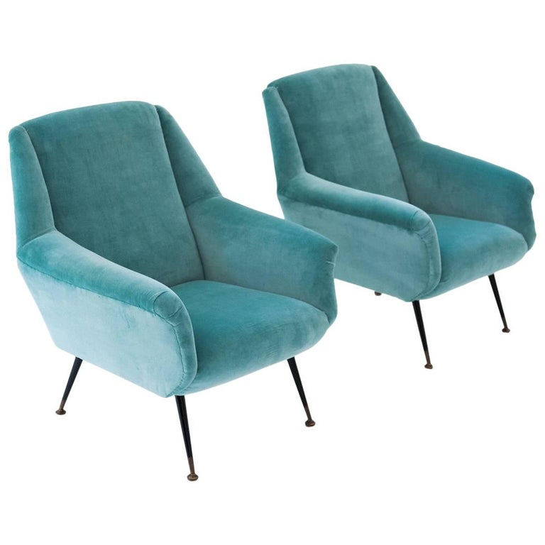Pair of Italian Turquoise Velvet Lounge Chairs, 1950s