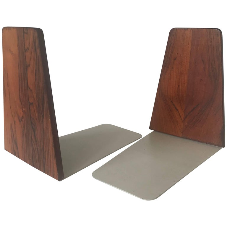 Beautiful Pair of Danish Design Mid-Century Modern Macassar and Metal Bookends