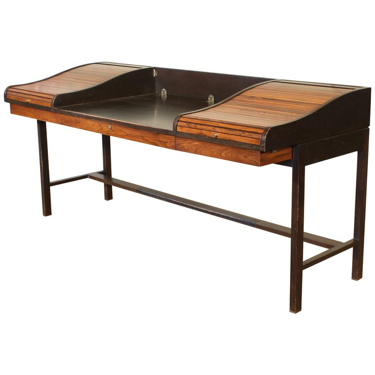 Edward Wormley for Dunbar Rosewood Roll-Top Writing Partners Desk