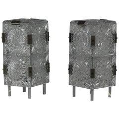 1960s, Pair of Crystal Glass Table Lamps, Kamenicky Šenov