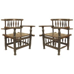 Pair of African Hardwood Armchairs