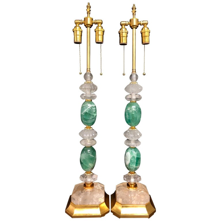 Wonderful Mid-Century Modern Pair of Rock Green Quartz Crystal Gold Gilt Lamps