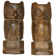 Pair of Cast Iron Bookends, Modelled as Owls by Florence Wylie