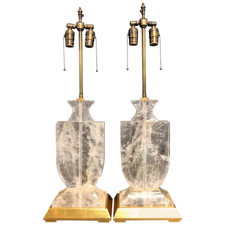 Wonderful Mid-Century Modern Pair Rock Quartz Crystal Gold Gilt Urn Form Lamps For Sale