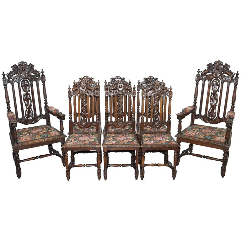 Set of Eight Hand-Carved Lion Terminal Victorian Dining Chairs Jacobean Manor