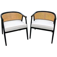 Sophisticated Pair of Harvey Probber Style Caned Barrel Back Club Chairs