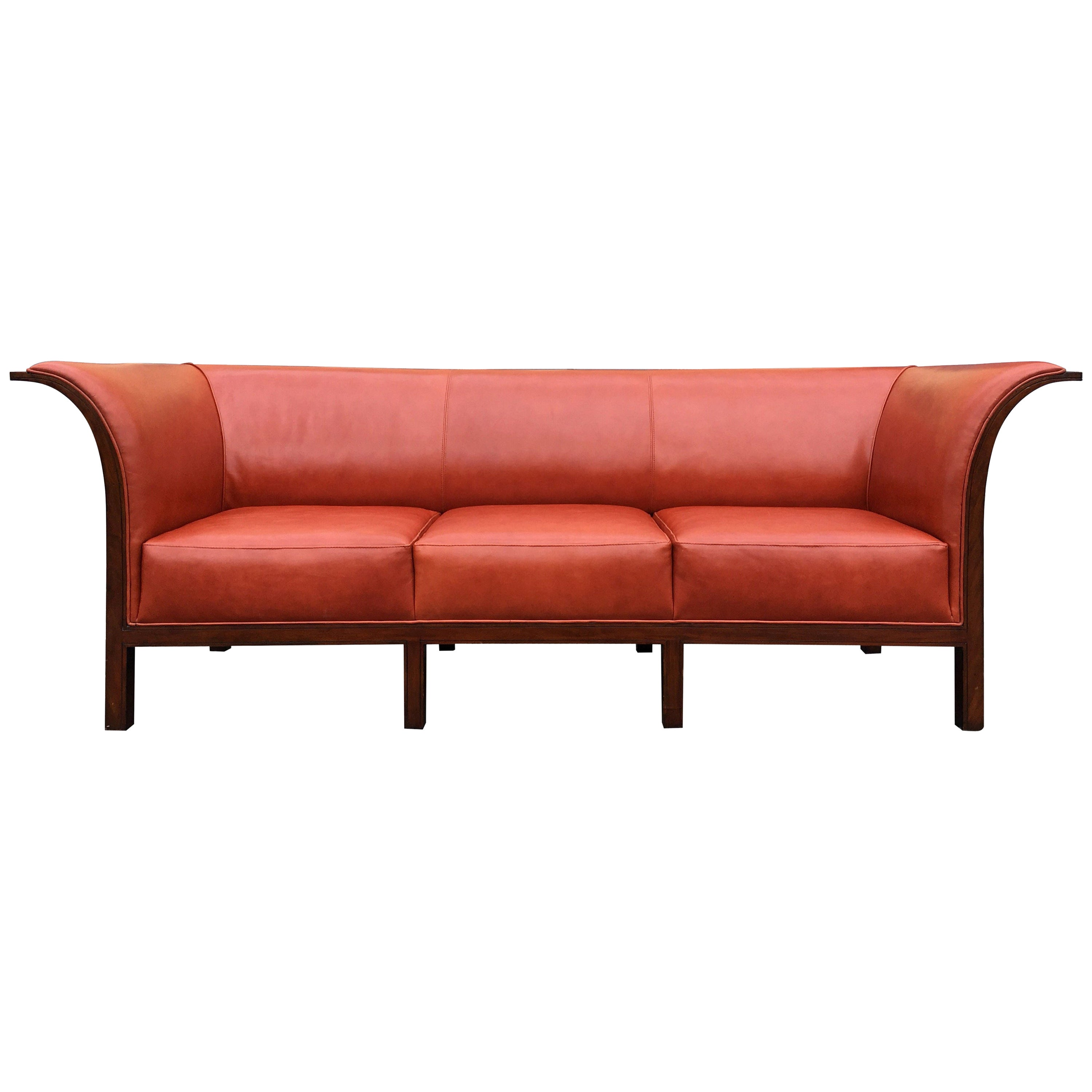 Beautiful Leather and Mahogany Sofa in the Style of Frits Henningsen