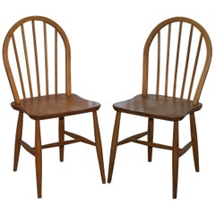 Pair of Original Ercol Productions Windsor Dining Chairs Spindle