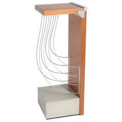 Torus - Handmade Modern Pedestal Table with Metal Concrete and Wood