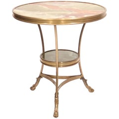 Hollywood Regency Italian Gueridon Table in Brass with Onyx Top
