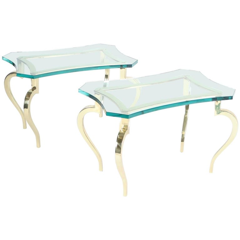French Hollywood Regency Side Tables with Polished Brass Cabriole Legs