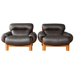Pair of Oak and Leather Chairs, 1970s, Italy