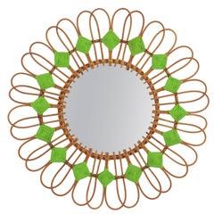 Rare Spanish 1950s Rattan Sunburst Flower Shaped Mirror with Green Rhombus