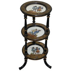 Aesthetic Movement Three-Tired Display Stand Hand-Painted Plates