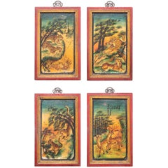 Set of Four Chinese Mythological Painted Panels
