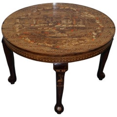 Very Rare Anglo-Indian Redwood Carved Round Dining Table Elephant Carved Inlay