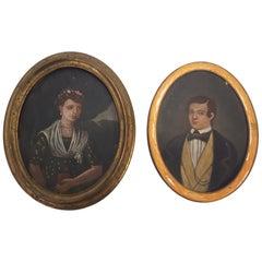 Two 19th Century Miniature Oil Portraits on Tin