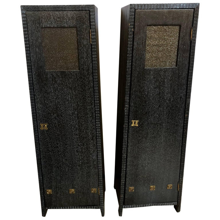 Pair of Art Deco Style Pedestal Cabinets Prov. Christies NYC