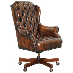 Restored 1960s Chesterfield Cigar Brown Leather Directors Captains Office Chair