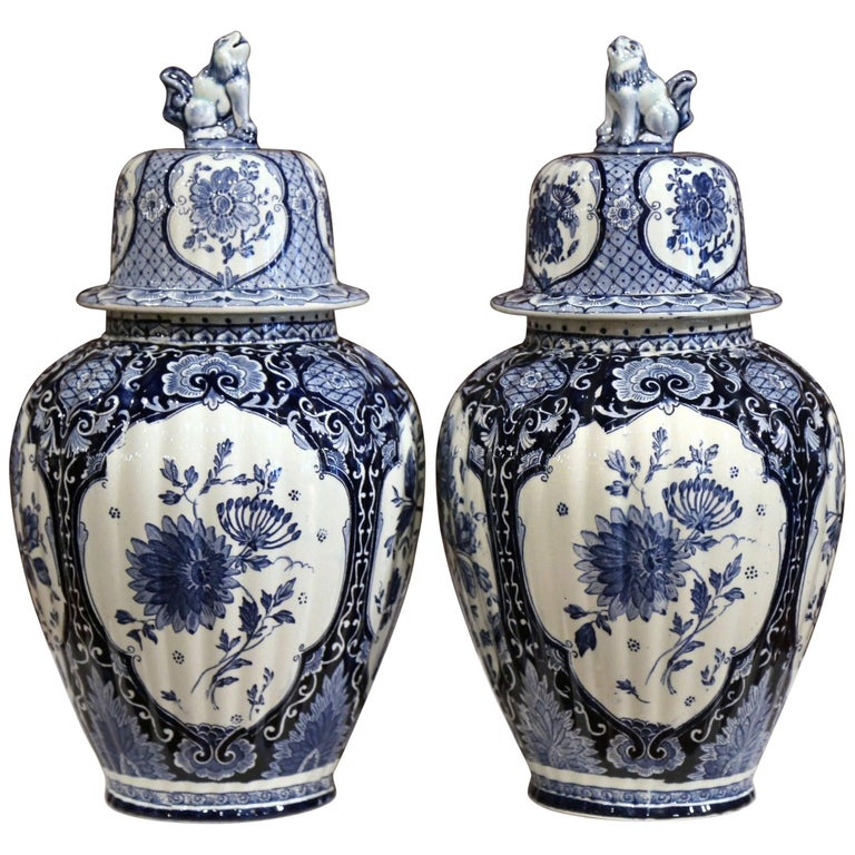 Pair of 20th Century Dutch Blue and White Maastricht Delft Ginger Jars with Lids