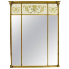 Large French Neoclassical Style Gold Gilt Reverse Painted Italian Trumeau Mirror