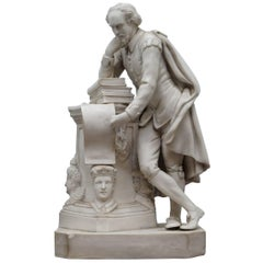 Highly Detailed Parian Marble Statue of William Shakespeare Must See, circa 1860