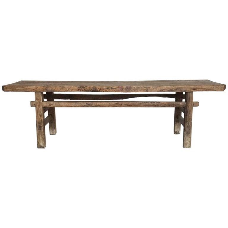19th Century Chinese Elm Bench