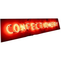 "1940s Classic Neon ""Confectionery"" Sign in Red-Painted Metal"