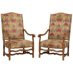 Pair of French Os de Mouton Style Armchairs