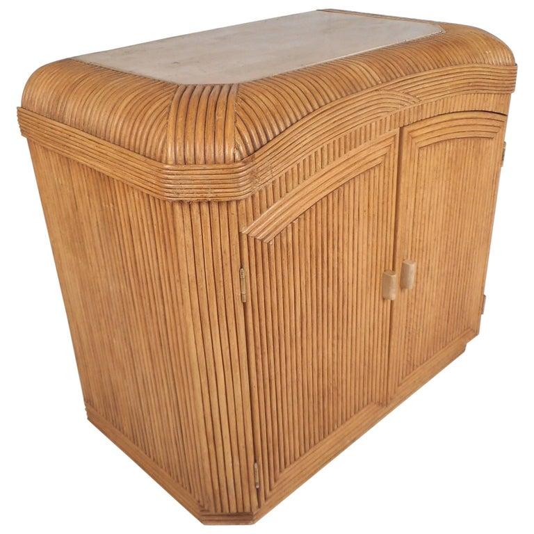 Mid-Century Modern Rattan Dry Bar Cabinet