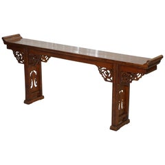 19th Century Chinese Elm Alter Table with Dragon Carved Detailing Large Ornate