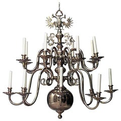 Continental Dutch Style '19th-20th Century' Brass Two-Tier 12-Arm Chandelier
