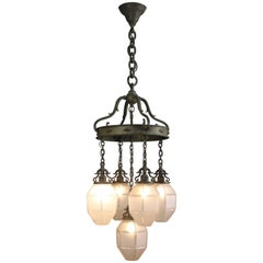 Rare Bronze 1920 Spanish Revival Arts And Crafts Chandelier with Original Shades