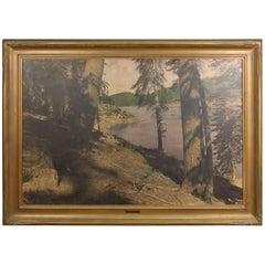 Large Tinted Photograph of the Huntington Lake Reservoir, circa 1920s