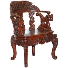 Chinese Qing Dynasty Carved Redwood Dragon and Lion Foo Dogs Armchair circa 1870