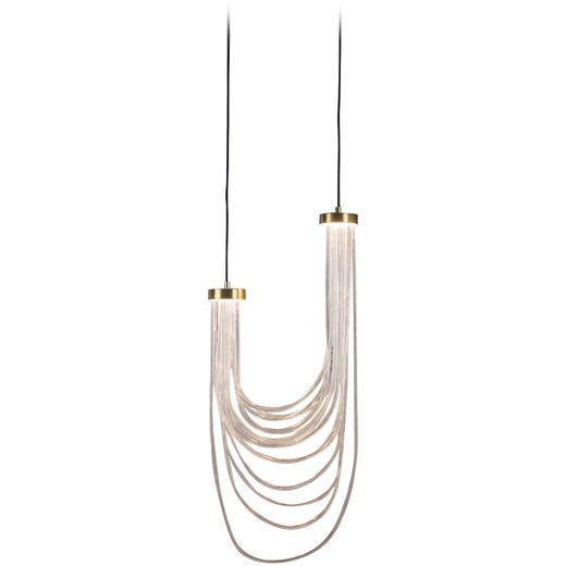 Brass Light Pendant, Double Cascade