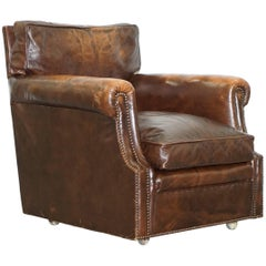 Vintage 1920s Coil Sprung Aged Brown Leather Club Armchair on Castors Rare Find