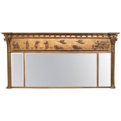 19th Century Federal Style Large Gilt Carved Top Console Mirror