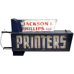 1940s Working Jackson & Phillips Double-Sided Neon Printers Building Sign