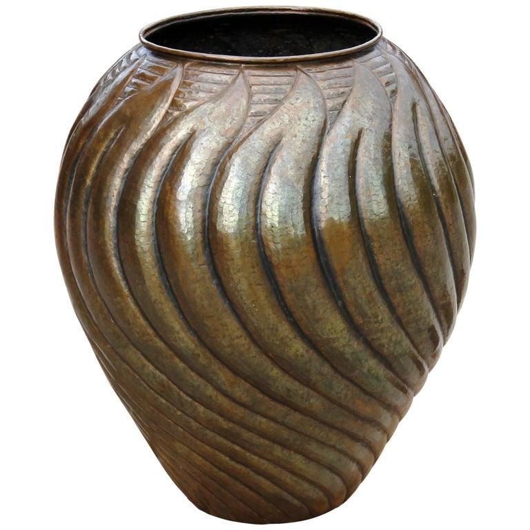 Italian Monumental Mid-Century Modern Hand Formed Brass Urn