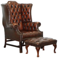 Georgian H Framed Chesterfield Wingback Brown Leather Armchair and Footstall