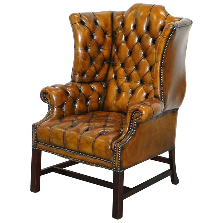 Georgian H-Framed Chesterfield Fully Buttoned Wingback Brown Leather Armchair