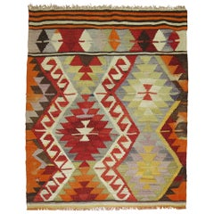 Vintage Turkish Kilim Flat-Weave Fragment