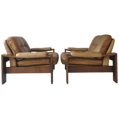 Danish Scandinavian Oak and Leather Cottage Lodge Easy Chairs, Set of Two, 1960s